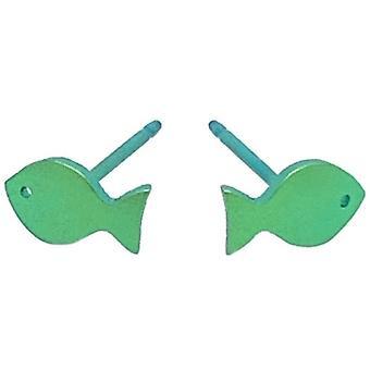 Ti2 Titanium Fish 7mm Stud Earrings - Fresh Green
