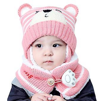 Kids Cartoon Bear Stripe Hats And Scarf, Baby Cap Set, Child Winter Earmuffs