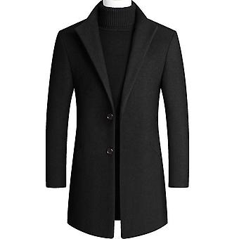 30% Wool Men Thick Coats Slim Fit Turn Down Collar Fashion Wool Outerwear