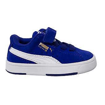 Puma Suede S V Kids Blue Suede Leather Hook And Loop Lace Up Trainers 359452 03