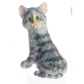 Dolls House Falcon Miniature Accessory Pet Cat Sitting Grey Kitten