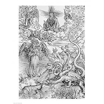 Apocalyptical scene from the Apocalypse Poster Print by Albrecht Durer