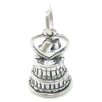 Wedding Cake Sterling Silver Charm .925 X 1 Marriage Married Charms - 3237