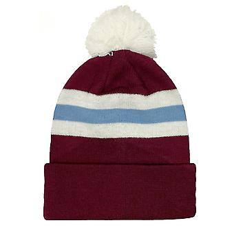 fan originals Retro Football Bobble Hat in West Ham United Colours Claret Blue