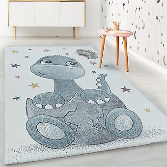 ShortFlor niños alfombra azul dinosaurio dinosaurio bebé diseño alfombra infantil suave