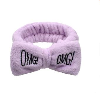 Omg Letter Coral Fleece Bow Hairbands Hair Accessories