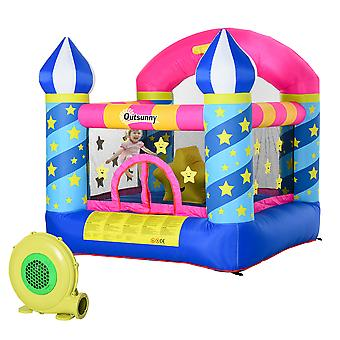 Outsunny Kids Bounce Castle House Inflatable Trampoline Basket with Inflator for Age 3-12 Castle Stars Design 2.25 x 2.2 x 2.15m
