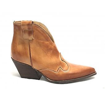 Shoes Woman Ad. Lateral Texano Calfskin Ankle Boot Leather Cor Ds19ad01