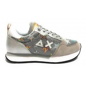 Women's Running Sneakers Sun68 Kelly Star Silver Leather Sequins Ds20su09