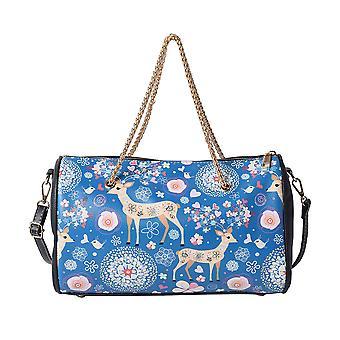 Hjort mønster Crossbody Bag med kjedehåndtak dråpe og skulderstropp - blå