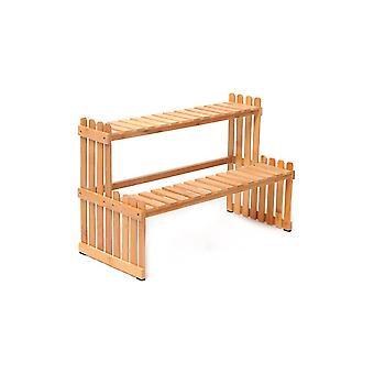 Bambu växt förvaringsställ, dubbla lager multifunktionell display rack, inomhus vardagsrum balkong blomma stativ