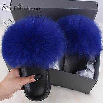 Women Real Fox Fur Slides, Furry Flat Sandals ( Set 2)
