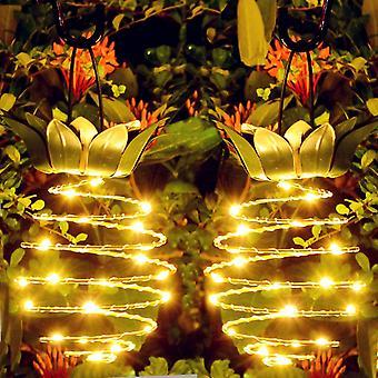 2 PACK Outdoor Hanging Lanterns Solar Garden Stake Lights Waterproof LED Pineapple String Lights