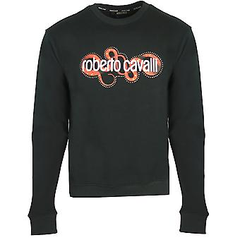 Roberto Cavalli Snake Wrapped Logo Black Sweater