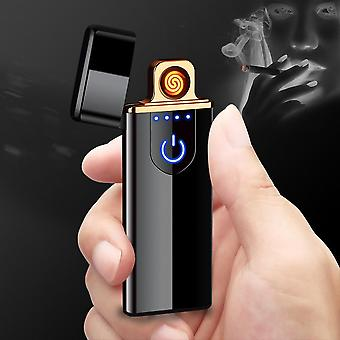 Usb Electric Lighter Recharge Cigarette Lighter Smoking Windproof Metal Dual