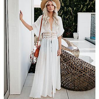 2021 Crochet White Knit Beach Cover up dress Tunika Long Pareos Bikinis Cover ups Swim Cover up Robe Plage Beachwear