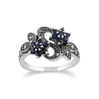 Art Nouveau Style Round Sapphire & Marcasite Flower Ring in 925 Sterling Silver 214R247404925