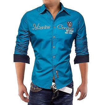Men's Long Sleeve Polo Shirt Vintage Cargo Herrenhemd Marine One Ego