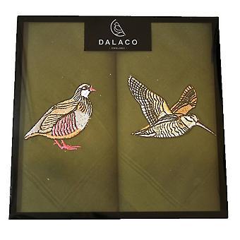 Dalaco Woodcock and Partridge Handkerchief Set - Green/Brown