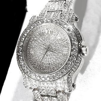 Pave Iced Out Romeinse cijfer hip hop horloge