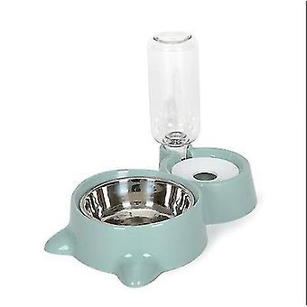 Sininen lemmikkieläinten automaattinen syöttökulho, kaksinkertainen ruostumattomasta teräksestä valmistettu kulhovesi & ruoan varastointikulho az6443