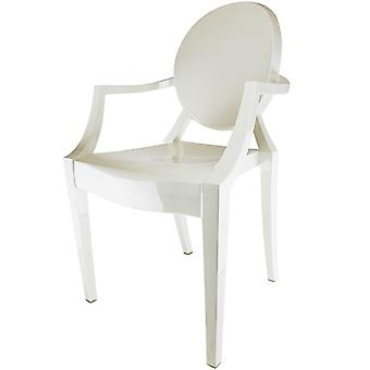 Fusion Living Ivory White Ghost Style Plastic Louis Armchair - Set Of 6