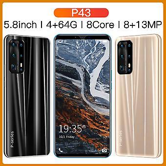 Noir 5,8 pouces P43 PRO Dual-SIM 64 Go Déverrouillé Smartphone Android