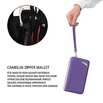 Koreansk stil Pu Läder Lång Plånbok Kvinnor Kontanter Handtelefon Handväska KortHållare
