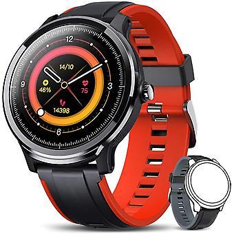 Smartwatch, Sports Watch IP68 Touch Screen Fitness Watch ساعة يد اللياقة البدنية المقاومة للماء مع مراقبة معدل ضربات القلب SMS مكالمة إشعار للرجال النساء الروبوت دائرة الرقابة الداخلية (الأحمر)