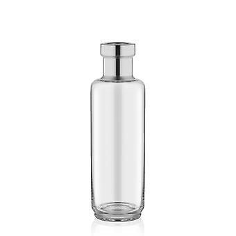 VZO0009 Transparent Bottle Glass Tall Vase with Silver Tip | 25cm