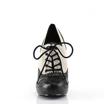 Pin mujeres's zapatos hasta crema-blk pu angustiado