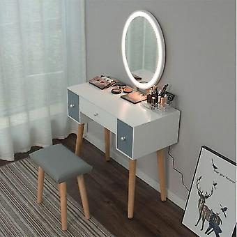 Dressing Table With Two Drawers, Stool And Dimmable Mirror Led Light