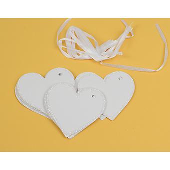 10 White Card Heart Glitter Edged Gift Tags à décorer