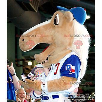 Maskottchen REDBROKOLY.COM beige Pferd in Sportkleidung