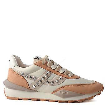 Ash SPIDER 168 STUDS Eco Trainers Off-White And Taupe