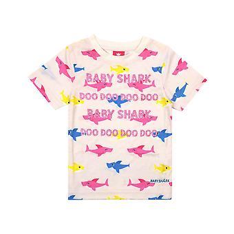Baby Shark Girls Glitter All-Over Print T-Shirt