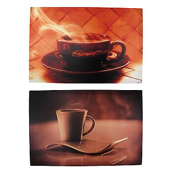 Pair of Coffee and Espresso Nylon Canvas Wall Plaques