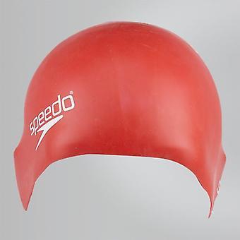 Speedo Junior Plain valettu silikoni hydrodynaaminen kestävä uinti korkki-punainen