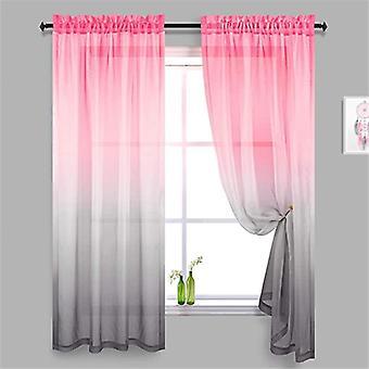 Cortinas de tul gris rosa para la decoración del dormitorio Cortinas transparentes de la ventana para las decoraciones de las habitaciones de las niñas