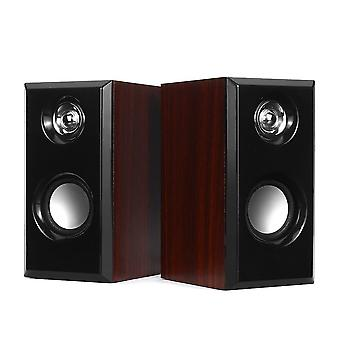Speakers wired speakers computer wood subwoofer speakers with 3.5Mm bass stereo speakers mahogany