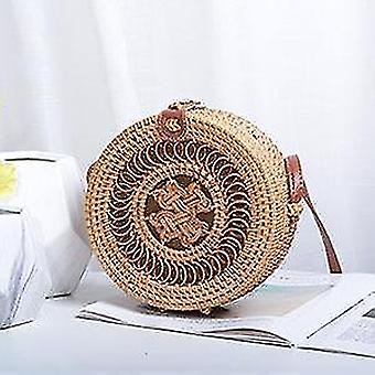 Bolsas de ombro de verão de rattan teêmia boêmia artesanal com alça de couro (18x8cm)(Nó espiral B)