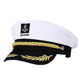 Erwachsene Yacht Boot Schiff Sailor Captain Kostüm Hut Cap Marine Marine Admiral gestickt Kapitän Scap (weiß)
