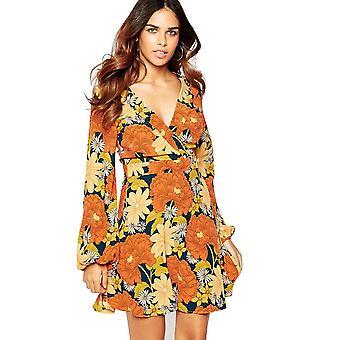 Pomarańczowo-żółta sukienka skaterzy z wrap przedni detal w kwiatowym druku UK ROZMIAR 10