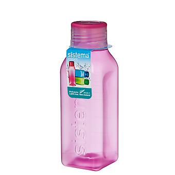 Sistema Hydrate 475ml Square Drink Bottle, Pink