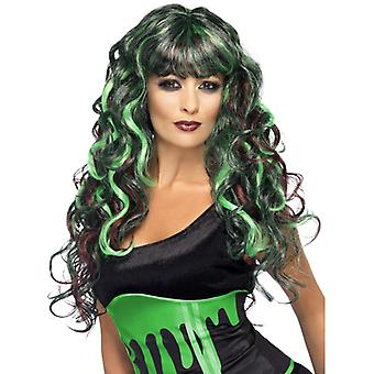 Περούκα αίμα-καλώντας τέρας πράσινο και μωβ μακρύ και σγουρά με πόνυ