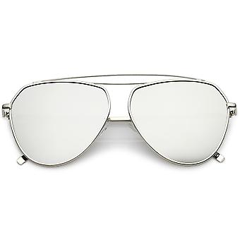 Oversize Metal Aviator Sunglasses Curved Crossbar Colored Mirror Flat Lens 59mm