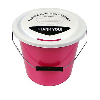 Charity Money Collection Bucket 5 Litres - Pink