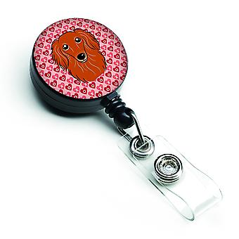 Longhair Red Dachshund Hearts Retractable Badge Reel