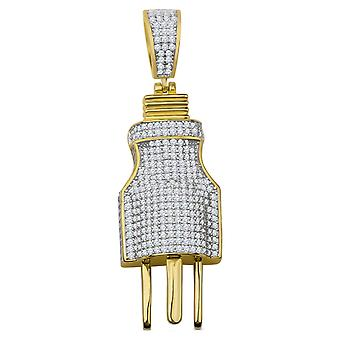 925 sterling silver micro pave pendants - 3D plug