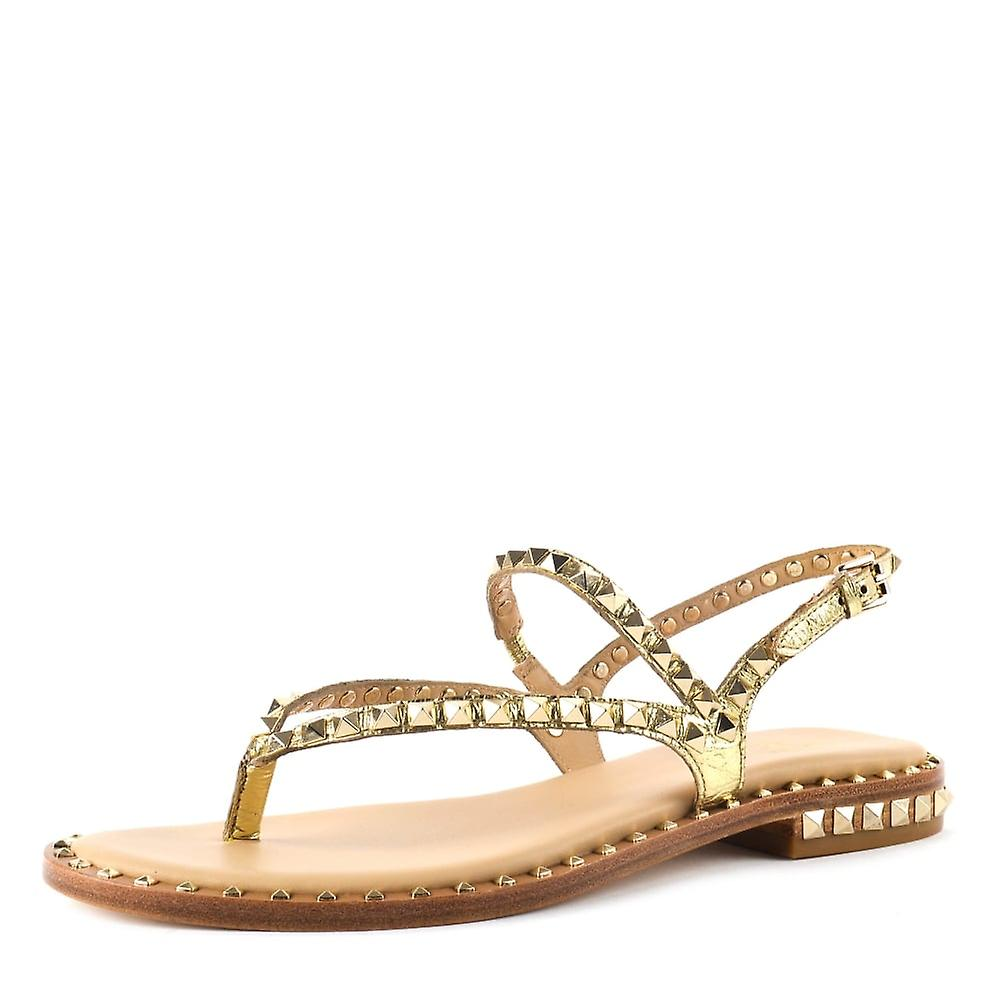 Ash PEPS Sandals Gold Leather Gold Studs
